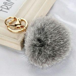 Grey fur ball keychain
