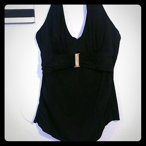 SPANX Other - SPANX BLACK TANKINI WITH GOLD BROCH SIZE 12