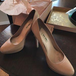 Miu Miu Shoes - Miu Miu nude platforms 39 - with original box