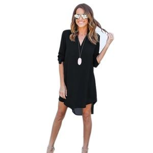 Cute high low shirt dress with med sleeves