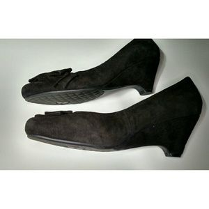 me too Shoes - Me Too Black Suede Wedges - Size 8M