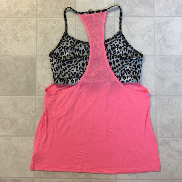 50 off pink victoria 39 s secret tops pink workout tank for Shirts with built in sports bra