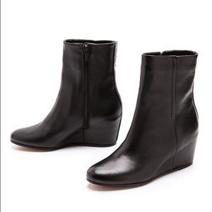 Vince Michela Wedge Boots Black Leather 8.5
