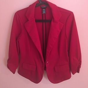 Soho Apparel Jackets & Blazers - Fitted Red Blazer Scrunched Sleeves