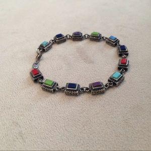 Rectangular Stone & Silver Bracelet
