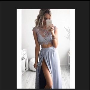 Stunning 3 piece Lace top and skirt outfit