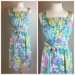 Vintage 70's Floral Summer Wiggle Dress