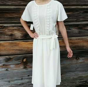 Vintage Jennifer Gee Cream Midi Dress Lace Trim