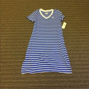 Ralph Lauren Blue & White Striped A-Line Dress
