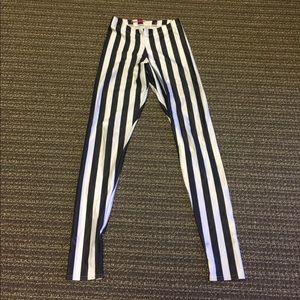 Blackmilk Pants - BlackMilk Black & White Striped Leggings