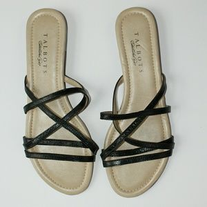 Talbots Shoes - Talbot's Flat Black Strappy Sandals