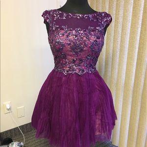 Sherri Hill Purple Short Beaded Cocktail Dress