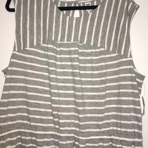 Grey Knit Stripe Dress- 3X