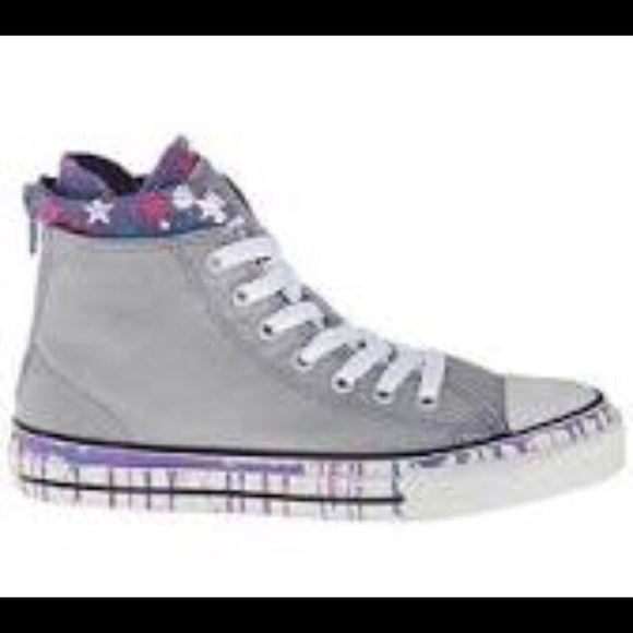 Converse Other - Girls converse grey purple   pink High tops 2793c7553