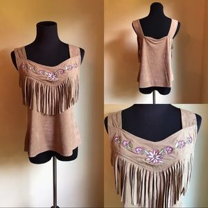 Tank with fringe and embroidery