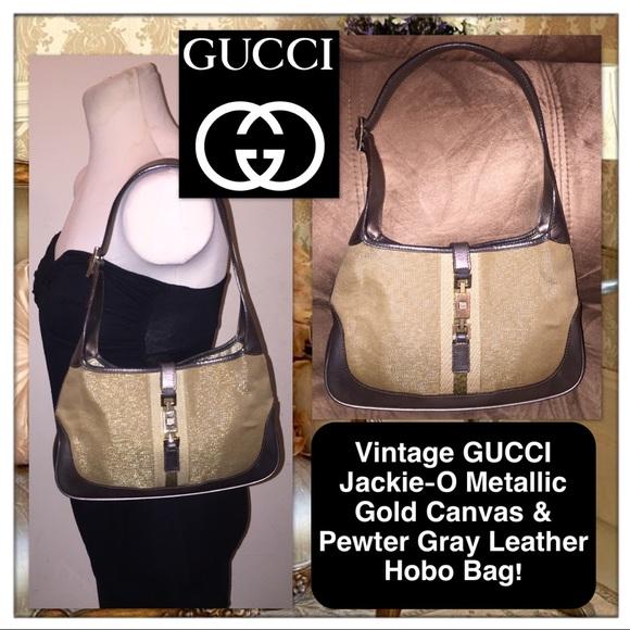 Gucci Handbags - Vtg GUCCI Jackie-O Metallic Gold Canvas   Gray Bag 376ee530851e3