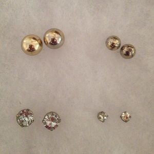 Jewelry - Set of four earrings--mottled gold/faux diamond