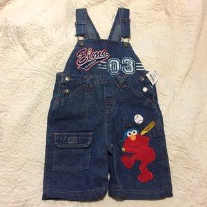Sesame Street Other - NWT Elmo Sesame Street Denim Overalls SZ 3T