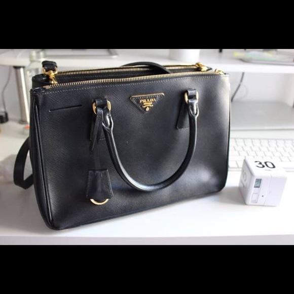 b618b1aba70d Prada Saffiano Lux Small Double-zip tote black