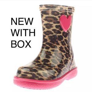 Igor Other - Igor Rain boot Cheetah Print & Pink Heart NEWw/box