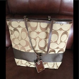 Coach brown signature canvas tote