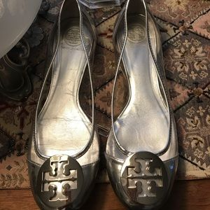 Tory Burch Shoes - Tory Burch silver/clear leather flats!