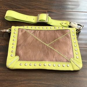Gustto Handbags - GUSTTO Neon Green Leather Clutch With Chrome Studs