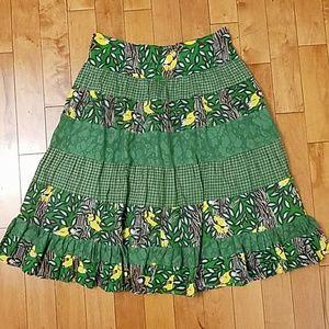 April Cornell Dresses & Skirts - April Cornell Bird Print Full Midi Skirt