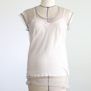 tulle taupe top with pink Cami