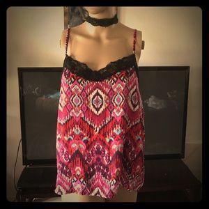 Ladies L UltraFlirt Lace Cami red pink & blue NWT