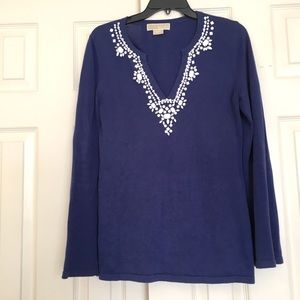 Michael Kors Embellished Navy Knit Tunic Top