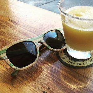 Multicolored wooden sunglasses