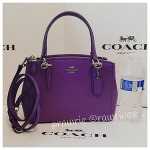 New Coach Purple Leather Carryall Crossbody Tote