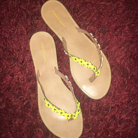 Roberto Santi Shoes  Yellow Sunflower Thong Flip Flops 10 -9533