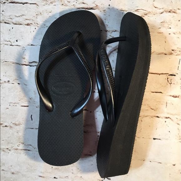 f10ebb7a0 Havaianas Shoes - Havaianas Highlight Wedge Flip Flop Black Sandals