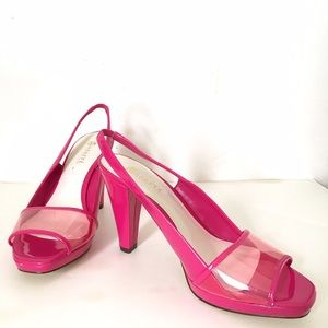 "Abaete Shoes - Pink Patent Peep Toe Sling Back 4"" Heel"