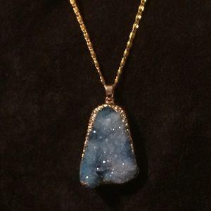 Druzy Jewelry - Gold Leafed Druzy Crystal Necklace