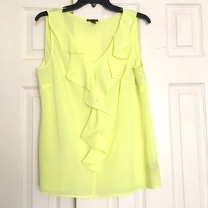 New Directions Tops - Sleeveless Yellow Top Ruffle Front Polyester