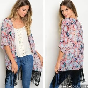 Sweaters - Floral Print Fringe Kimono