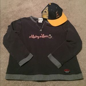 Mickey Mouse vintage pullover and SnapBack bundle
