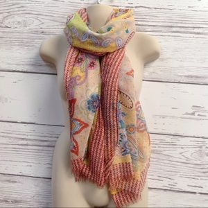 Multi color paisley and floral scarf