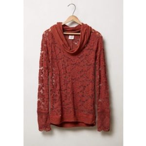 Anthropologie Tops - Anthropologie Lilka Frosted Lace Cowl Neck Top