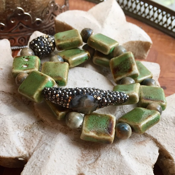 Clay and Agate beaded stretch bracelet set