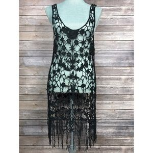 Free People Dresses & Skirts - {Free People} Crochet Floral Fringe Coverup Dress
