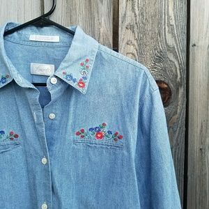 Foxcroft Tops - Foxcroft Floral Embroidered Denim Top
