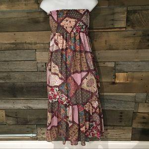 Dots Dresses & Skirts - Dots patchwork print strapless dress. Size medium