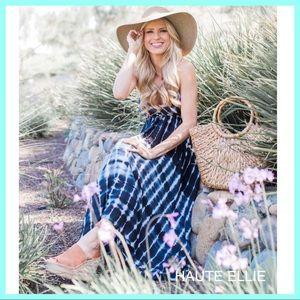 "Haute Ellie Dresses & Skirts - Ocean Depths Tie Dye ""Y"" Back Maxi Dress"