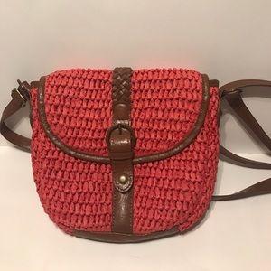 Orange-red woven purse