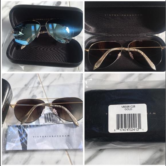 9b9349ee8 Victoria Beckham Accessories   Sky Gold Mirror Aviator Sunglass ...