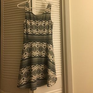 H&M Black and White Aztec Print Swing Dress